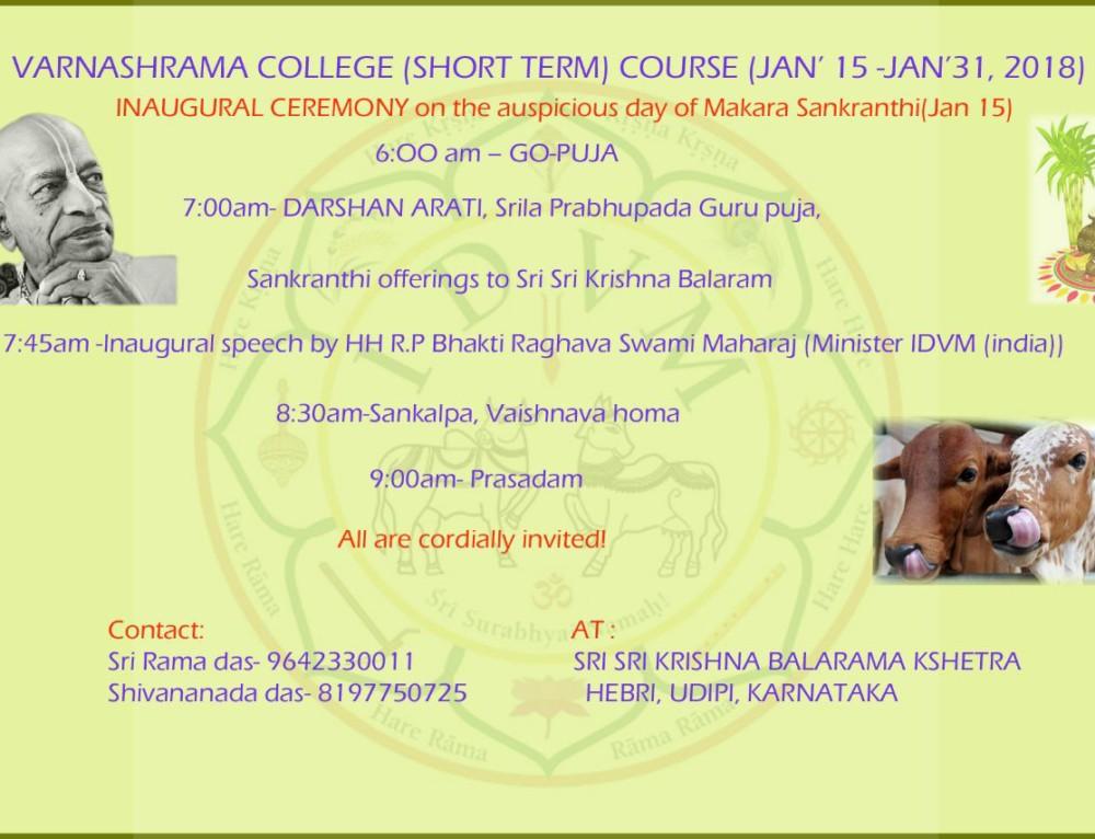 Varnasrama College (Short Term) Course